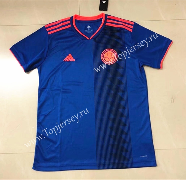 2018 World Cup Colombia Away Blue Thailand Soccer Jersey AAA ... 281b76f7d