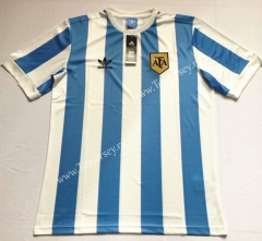 Retro Version Argentina Blue and White Thailand Soccer Jersey AAA