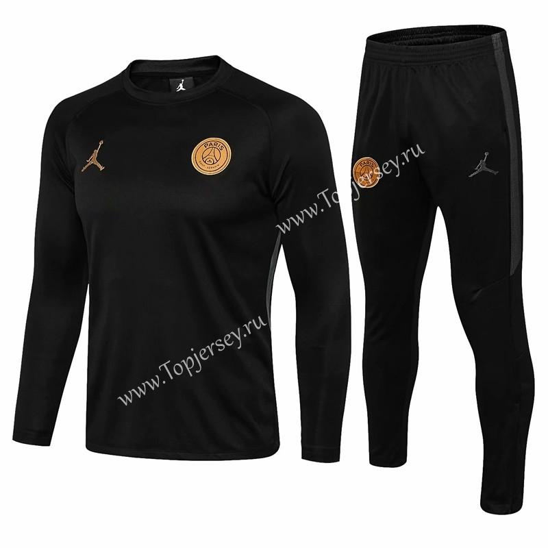 7cb700f9e876 With Gold Logo 2018-19 Jordan Paris SG Black Thailand Soccer ...