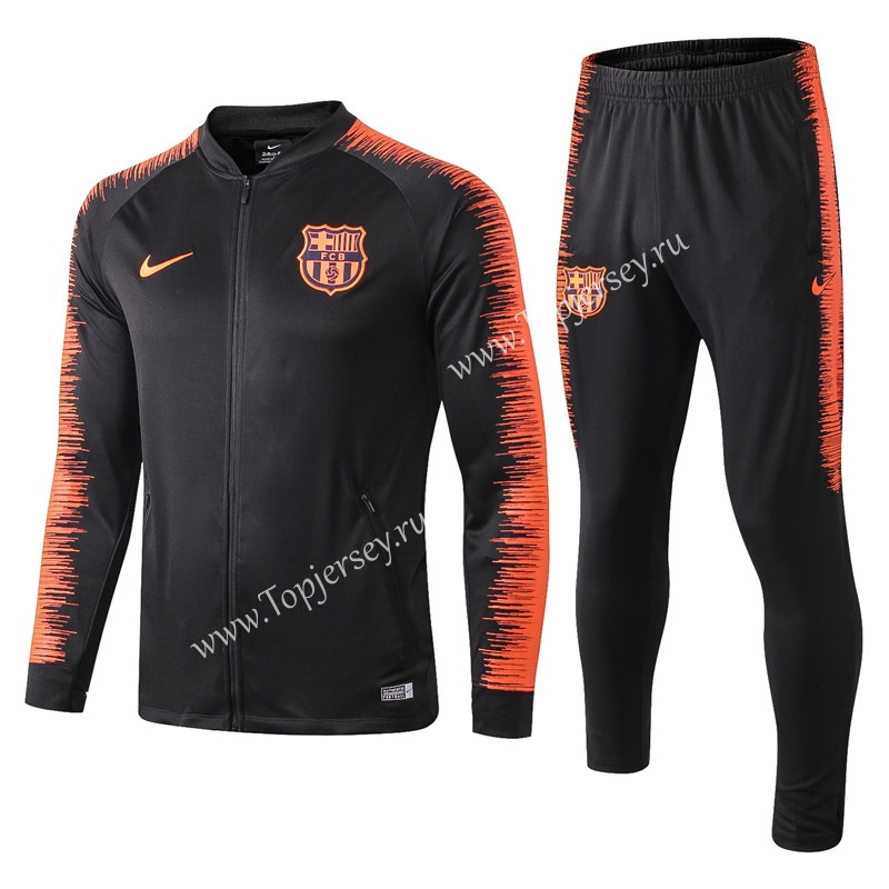 official photos 06445 1f501 2018-19 Barcelona Black Printed Sleeve Thailand Soccer ...