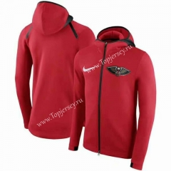 NBA New Orleans Pelicans Red With Hat Jacket Top 19