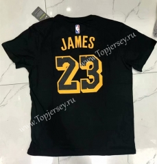 Los Angeles Lakers Black #23(JAMES)NBA Cotton T-shirt