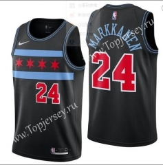 City Edition Chicago Bulls Black #24(MARKKANEN)NBA Jersey