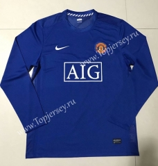 2004-2006 Retro Edition Manchester United Blue Thailand LS Soccer Jersey AAA-SL