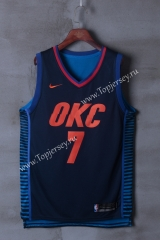 Oklahoma City Thunder Dark Blue Strip #7 NBA Jersey
