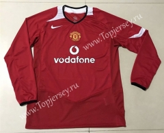 2004-2006 Retro Edition Manchester United Home Red Thailand LS Soccer Jersey AAA-SL
