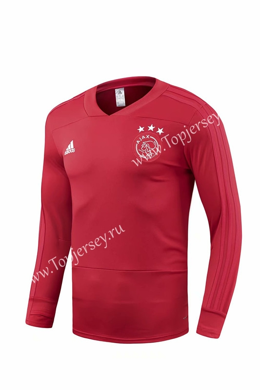 2018-2019 Ajax Red V Collar Thailand Soccer Tracksuit Top