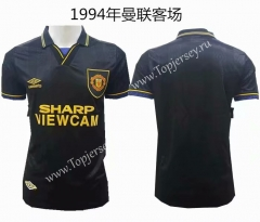 Retro Version 1994 Manchester United Away Black Thailand Soccer Jersey AAA