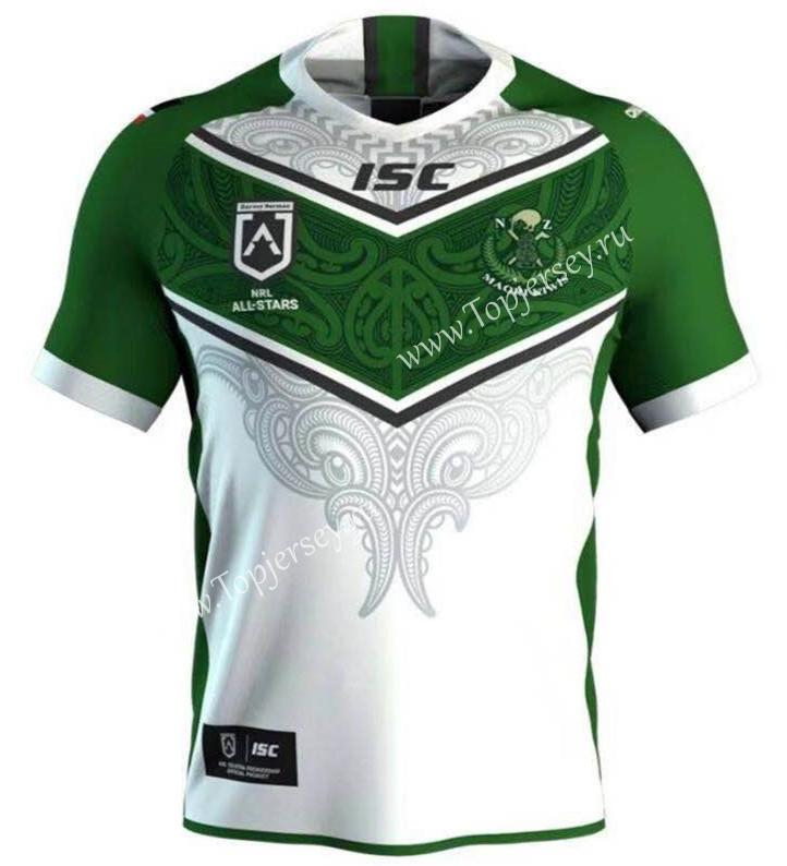 98f96ae0633 2019-2020 All Stars Maori White&Green Thailand Rugby Shirt-Maori ...
