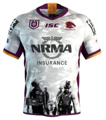 Commemorative Edition 2019-2020 Brisbane Broncos White Thailand Rugby Shirt