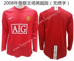 2008 Without Chest Letters Manchester United Home Red Retro Version Thailand LS Soccer Jersey AAA