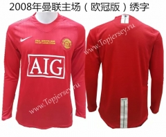 2008 (With Chest Letters)Manchester United Home Red Retro Version Thailand LS Soccer Jersey AAA