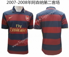 Retro Version 2007-2008 Arsenal 2nd Away Red&Blue Thailand Soccer Jersey AAA