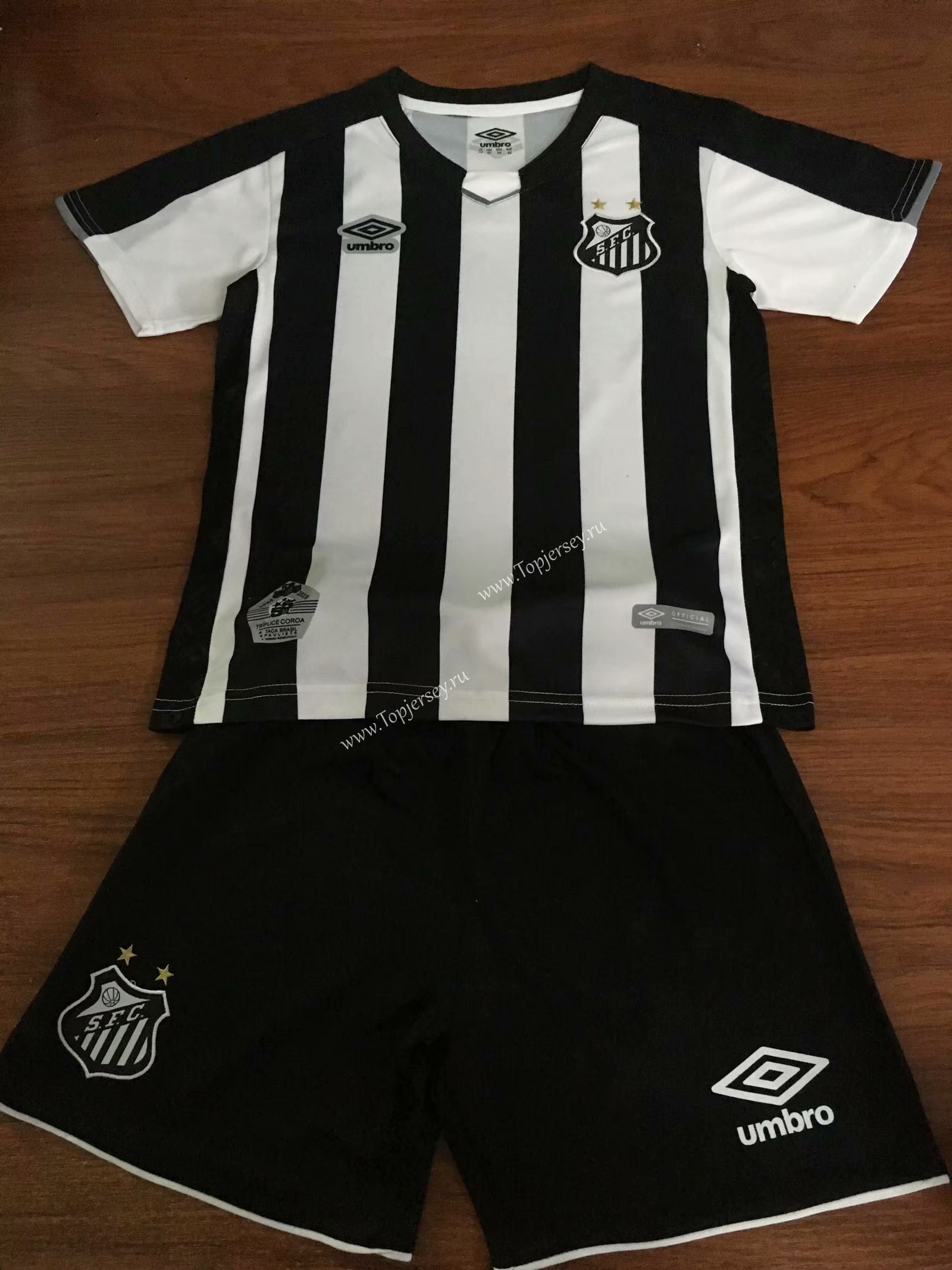 d0b5dd4fd64 2019-2020 Santos FC Home Black & White Kids/Youth Soccer Uniform ...