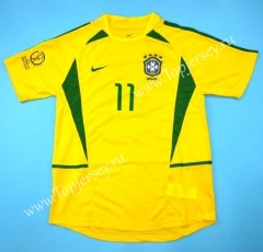 Retro Version 2002 Brazil Home Yellow Thailand Soccer Jersey AAA