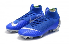 Assassin Blue Silver Mercurial Superfly VI 360 Elite FG Soccer Boots