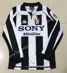 Retro Version 1997-1998 Juventus Home Black&White LS Thailand Soccer Jersey AAA-510