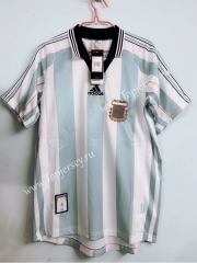 Retro Version 1998 Argentina Home Blue and White Thailand Soccer Jersey AAA-811