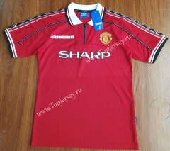 Retro Version 1998 Manchester United Home Red Thailand Soccer Jersey AAA-912