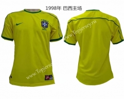 Retro Version 1998 World Cup Brazil Home Yellow Thailand Soccer Jersey AAA