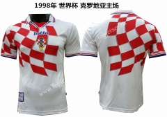 1998 World Cup Retro Version Croatia Home Red& White Thailand Soccer Jersey AAA
