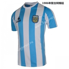 Retro Version 1986 Argentina Home Blue and White Thailand Soccer Jersey AAA