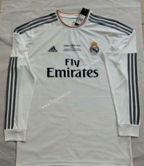 Retro Version 2014 Real Madrid Home White LS Thailand Soccer Jersey AAA-912