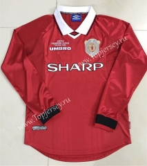 1999 Retro Edition Manchester United Home Red Thailand LS Soccer Jersey AAA-510