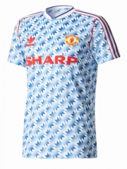 Retro Version 1990-1992 Manchester United Away Blue&White Thailand Soccer Jersey AAA-811