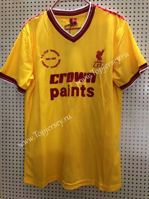 new concept 46d82 d1f24 Retro Version 85-86 Liverpool Away Yellow Thailand Soccer ...