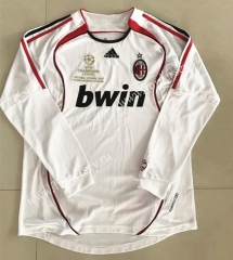 Retro Version 2006 AC Milan Away White LS Thailand Soccer Jersey AAA-510