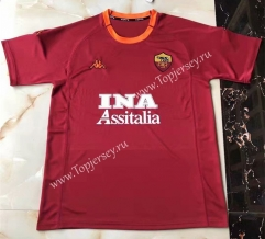 Retro Version 2000-2001 Roma Home Red Thailand Soccer Jersey AAA-503