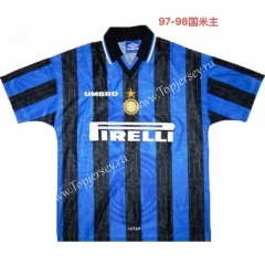 Retro Version 1997-1998 Inter Milan Home Blue&Black Thailand Soccer Jersey AAA-811