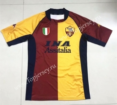 Retro Version 2001-2002 Roma Home Red&Yellow Thailand Soccer Jersey AAA-510