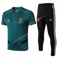 2019-20 Juventus Dark Green Short-sleeved Thailand Soccer Tracksuit-815