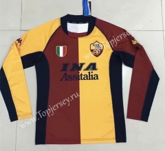 Retro Version 2001-2002 Roma Home Red&Yellow LS Thailand Soccer Jersey AAA-SL