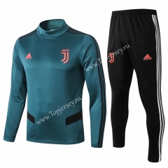 2019-20 Juventus Dark Green High Collar Thailand Soccer Tracksuit-815