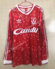 Retro Version 1989 Liverpool Home Red LS Thailand Soccer Jersey AAA-811
