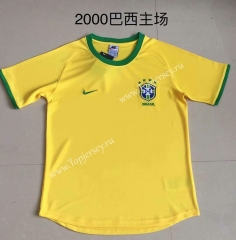 Retro Version 2000 Brazil Home Yellow Thailand Soccer Jersey AAA-DG