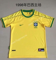 Retro Version 1998 Brazil Home Yellow Thailand Soccer Jersey AAA-AY