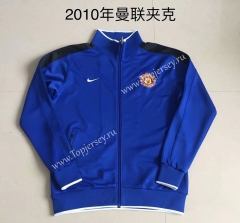Retro Version 2010 Manchester United Camouflage Blue Thailand Soccer Jacket -AY