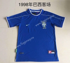Retro Version 1998 Brazil Away Blue Thailand Soccer Jersey AAA-AY
