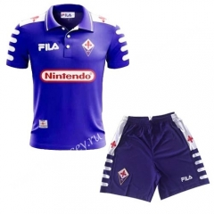 Retro Version 1998- 1999 Fiorentina Blue Thailand Soccer Uniform
