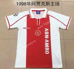 Retro Version 1998 Ajax Home Red&White Thailand Soccer Jersey AAA-AY