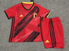2020 European Cup Belgium Home Red Kids/Youth Soccer Uniform