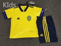 2020 European Cup Sweden Home Yellow Kids/Youth Soccer Uniform