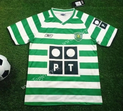 Retro Version 2003-2004 Sporting Clube de Portugal Home White and Green Thailand Soccer Jersey-503