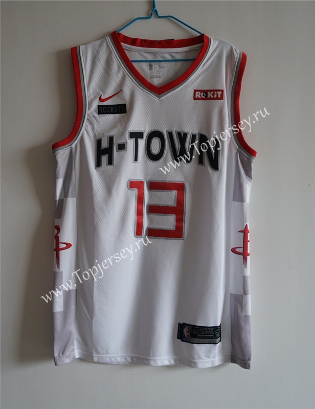 City Edition 2019-2020 Houston Rockets White #13 NBA ...
