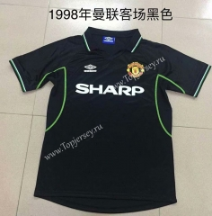 Retro Version 1998 Manchester United Away Black Thailand Soccer Jersey AAA-DG