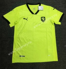 2020 European Cup Czech Republic Away Fluorescent Green Thailand Soccer Jersey AAA